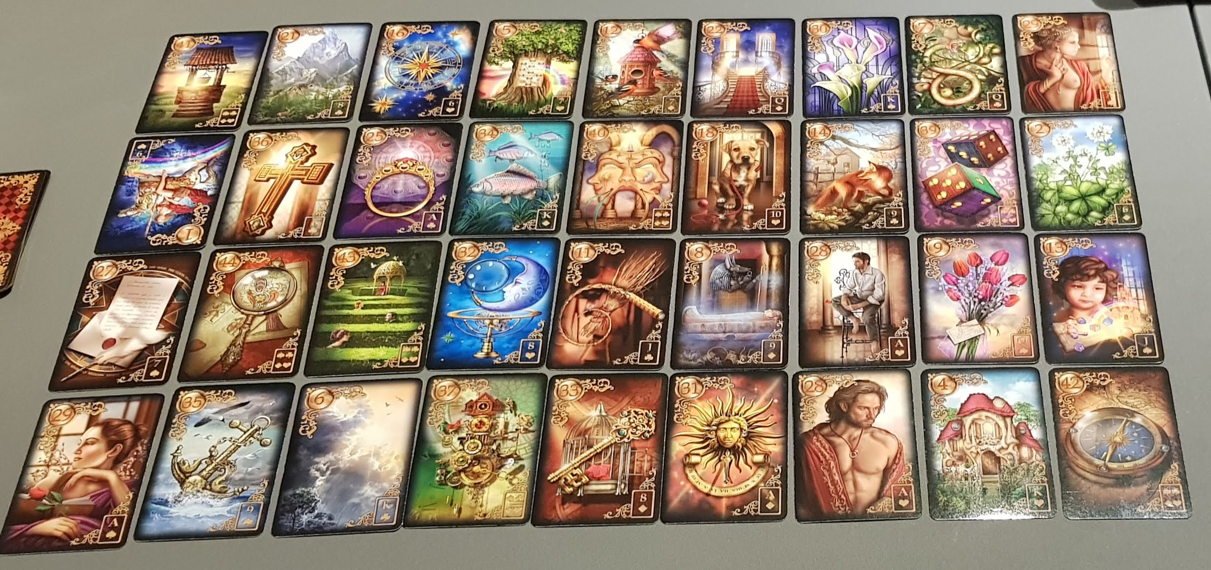 Lenormand deck of cards as a Grand Tableau spread